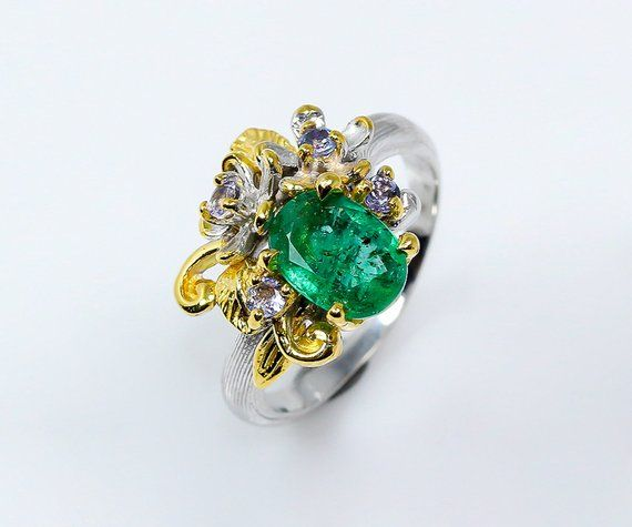 Natural emerald ring May birthstone jewelry gift for her, birthday