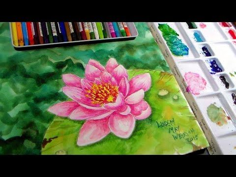 Pretty Pink Multi Petal Flower In Watercolor Pencils Real Time