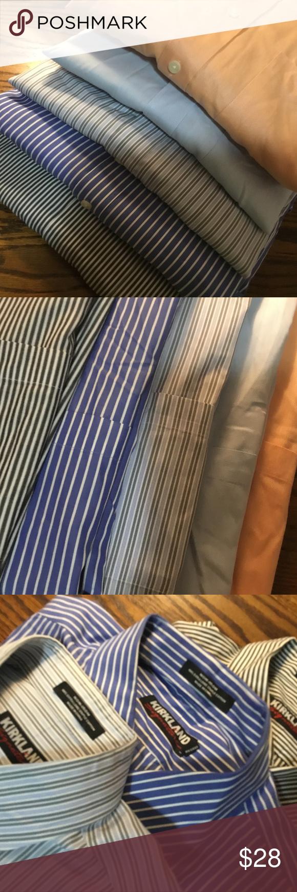 5 Kirkland Dress Shirts Xl Stripes Solids Costco In 2018 My Posh
