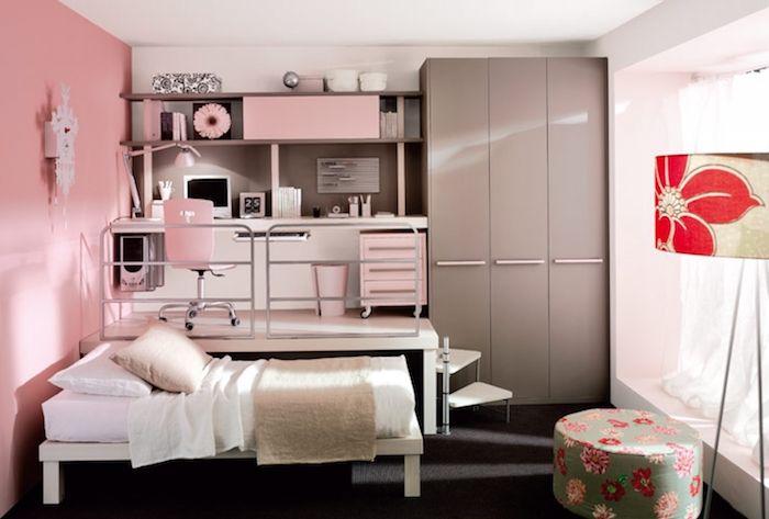 Jugendzimmer Auf Zwei Niveaus Einrichtung Und Gestaltungsideen Bett  Schreibtisch Kleiderschrank Hocker Stehlampe