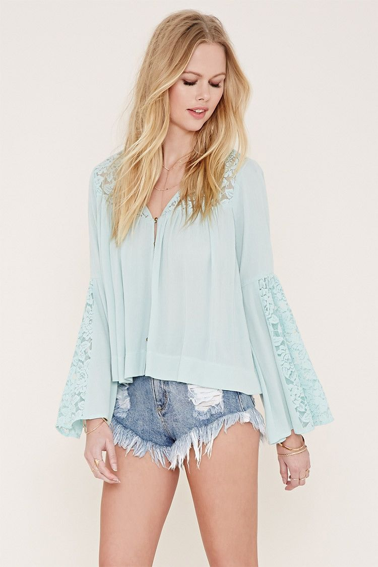 77344c01a2f9dd Trumpet Sleeve Blouse Forever 21