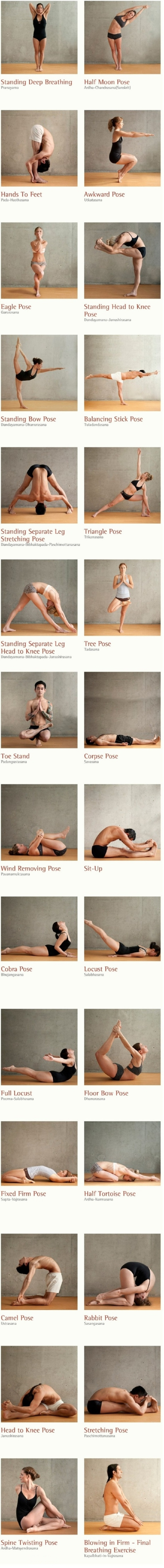The best yoga poses filmstrip. Here are 26 different yoga poses and 2 breathing excercises to work out your body inside out. Stimulate your organs, glands and nerves. Increse the oxidization through your whole body. by chasity