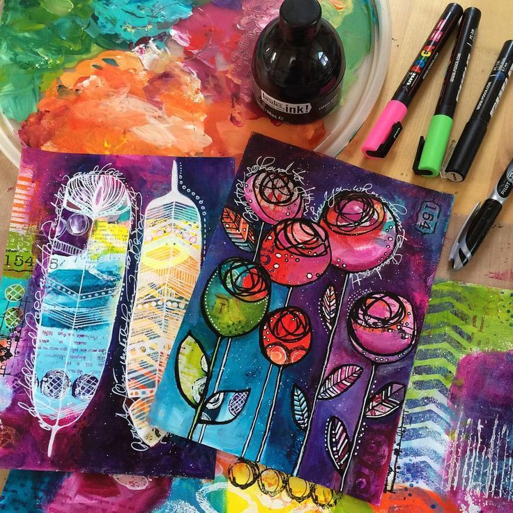 Gorgeous colourful art journal page