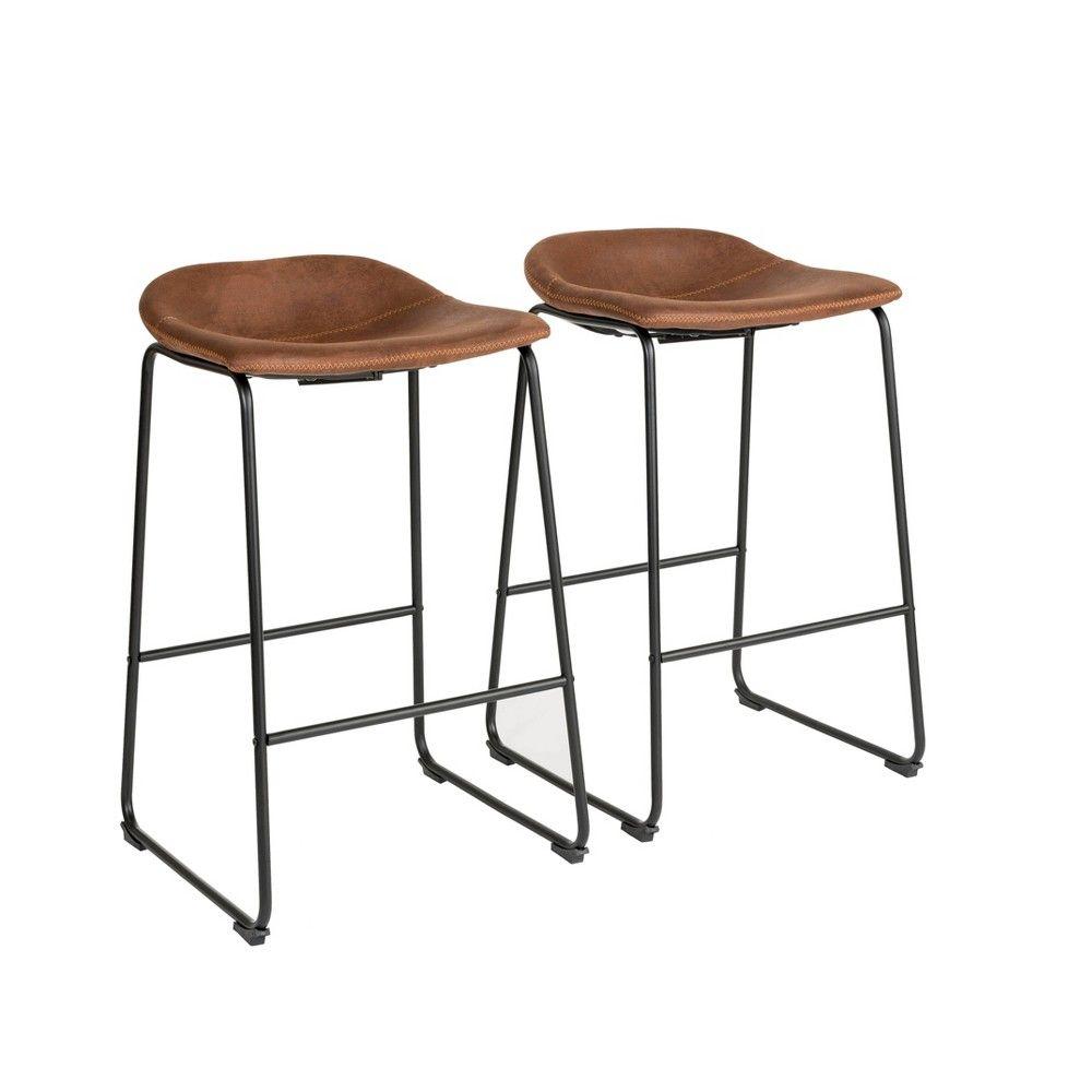 Set Of 2 Landon Bar Stool Brown Finch Adult Unisex Bar Stools Kitchen Bar Design Metal Bar Stools