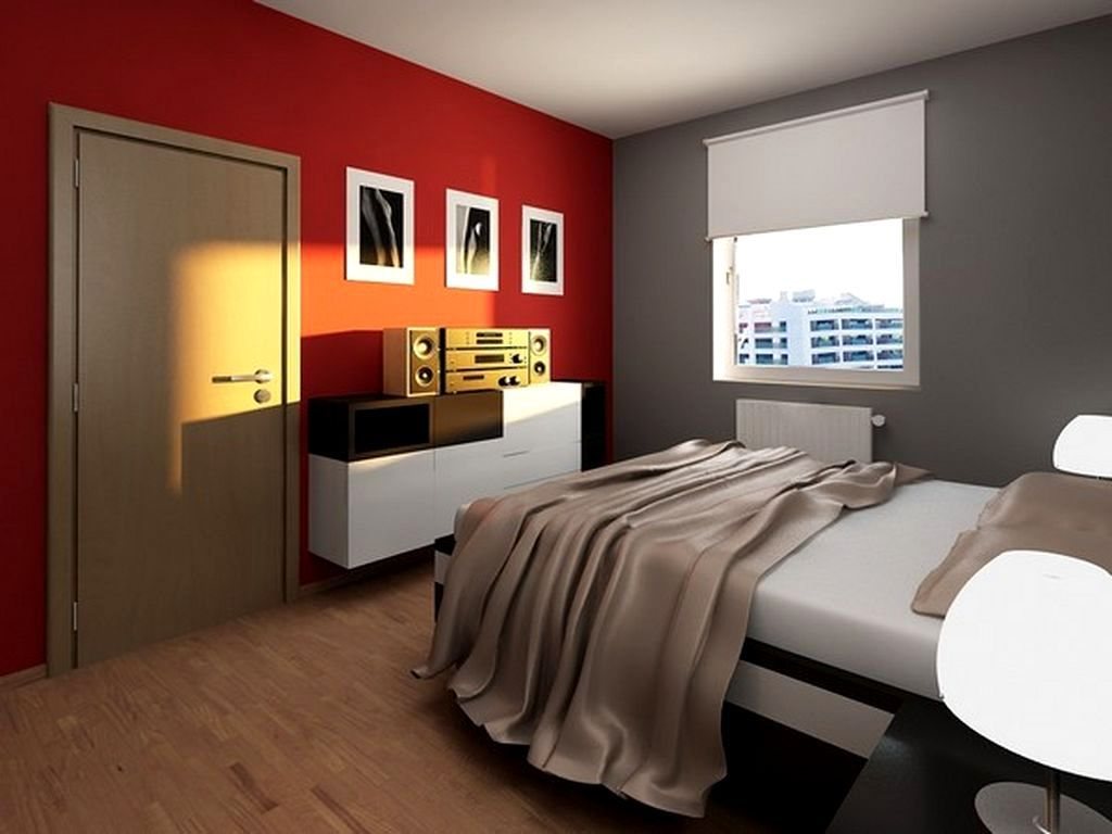 good Red Grey Room Part - 7: Teens Room Awesome Teen Boy Room Ideas Red Gray Wall Paint Ligh Gray  Polyester Comforter White Roller Shase White Wood Wall Mounted Cabinet  Wooden Flooring ...