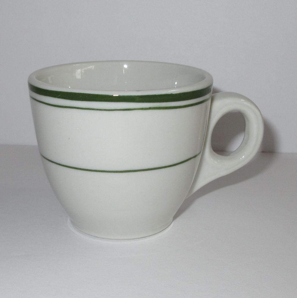 Restaurant Ware Buffalo China Espresso Cup 3 oz. Green Striped Made ...