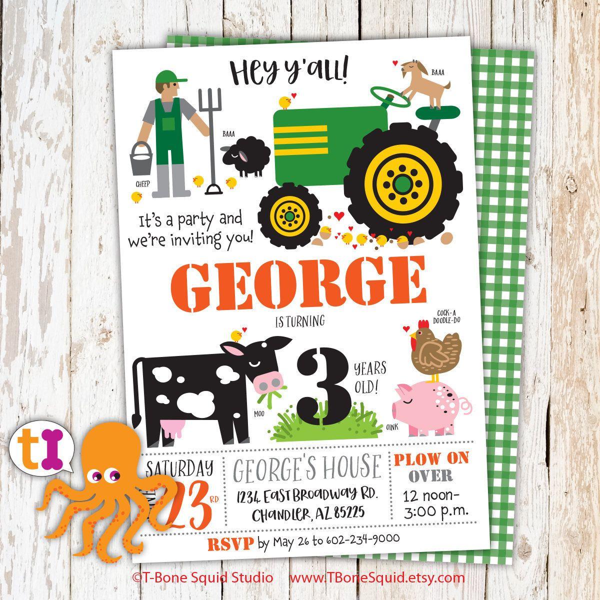 Farm, Animals, Tractor, Birthday, Party, Invitations, Girls, Boys ...