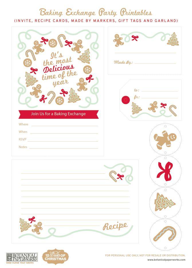 {free printable} Christmas Baking Exchange