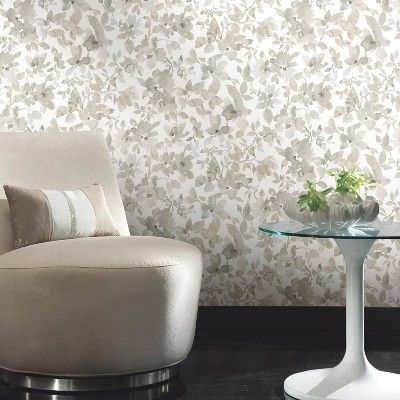 Roommates 28 2 Neutral Watercolor Floral P S Wallpaper Tan Adult
