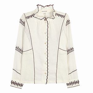 white and red piped linen blouse Isabel Marant