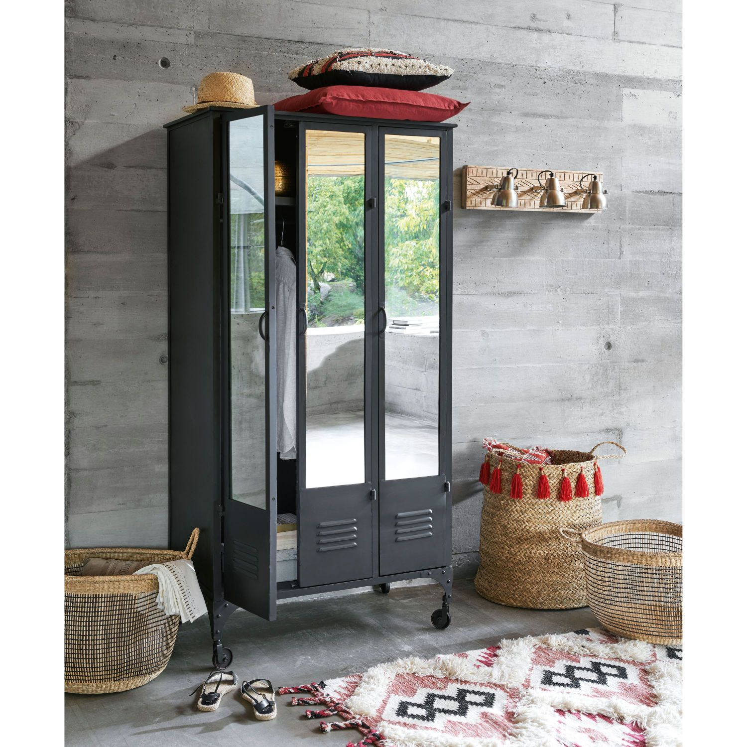 Metal Industrial Closet On Castors In Black Maisons Du Monde