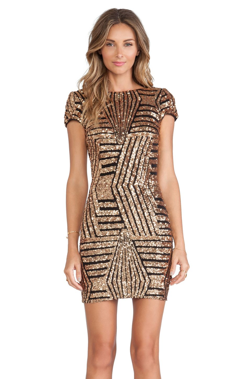 DRESS THE POPULATION Tabitha Dress in Bronze | REVOLVE | Dress to ...