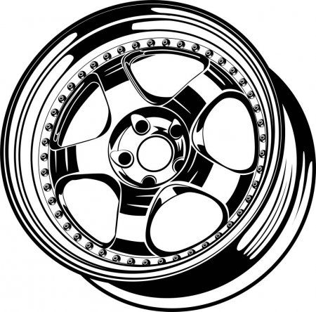 Car Wheel Rim Vector Silhouette Icon Logo Monochrome Color Black Stock Ad Vector Silhouet Roda De Carro Desenhos De Carros Fotos De Caminhao Rebaixado