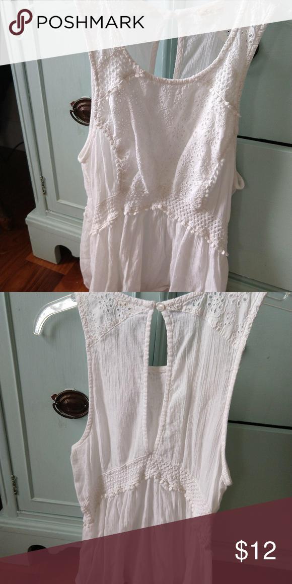 White Eyelet Lace Sleeveless Shirt In 2018 My Posh Closet