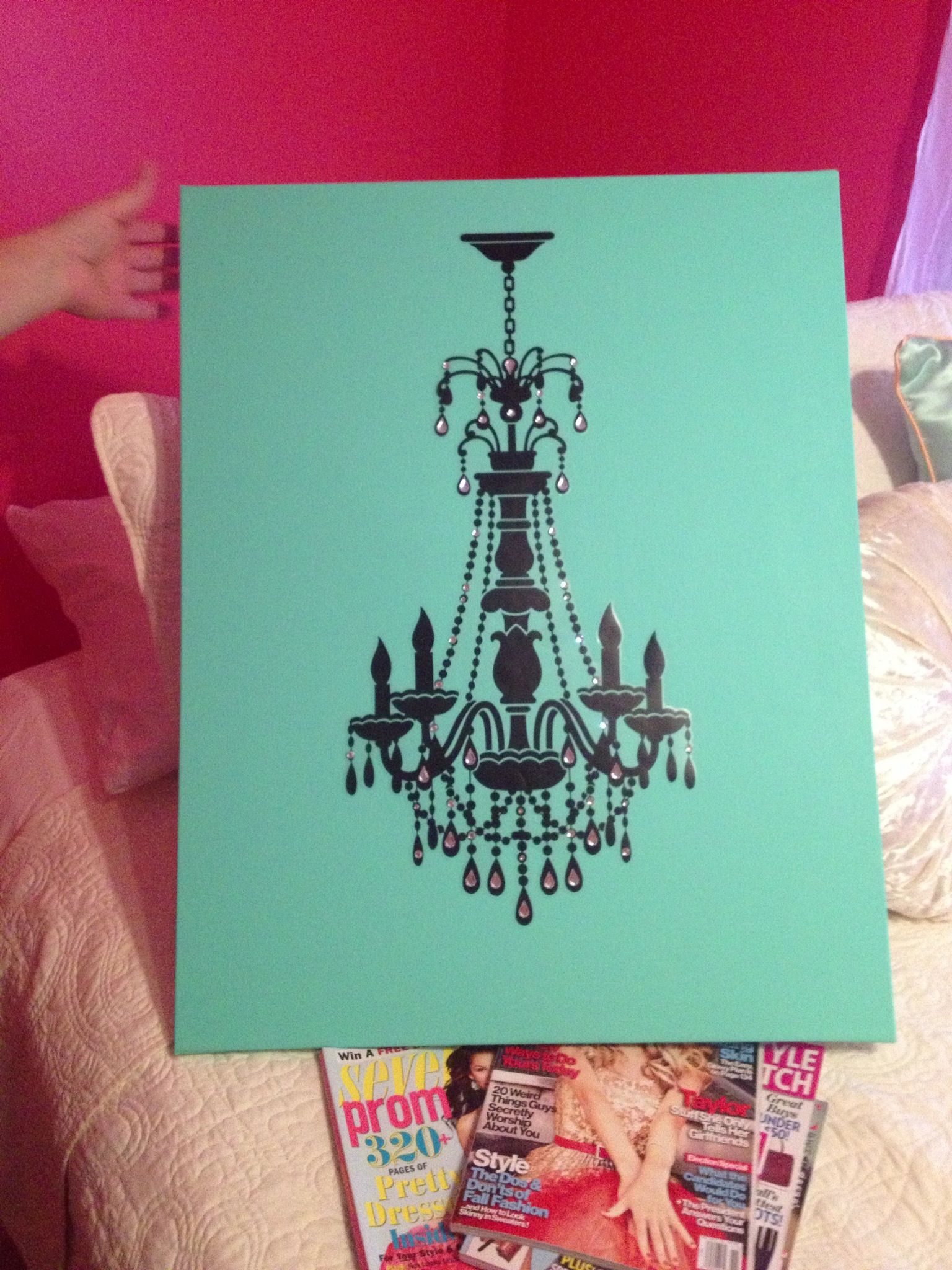 Chloe s DIY Chandelier wall art on painted turquoise canvas