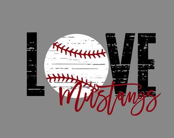 Download Love Mustangs Distressed Baseball SVG   Baseball svg ...