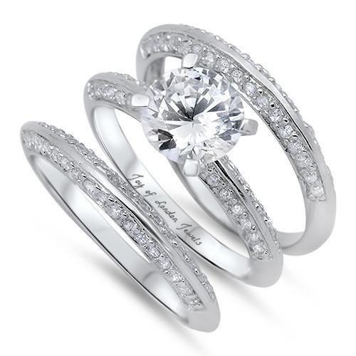 3CT Round Cut Russian Lab Diamond Bridal Set Triple Band Wedding
