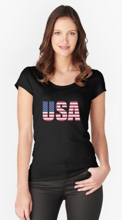Make Usa Great Again Fitted Scoop T Shirt In 2020 Fashion Shirts Face The Music