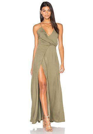 1a786597f82 Beach Solid Color One Shoulder Khaki Maxi Dress