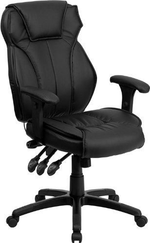 nice Flash Furniture High Back Leather Chair, Black