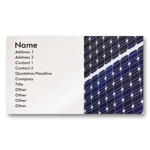 Solar panel, Name, Address 1, Address 2, Contac Business Card - name and address template