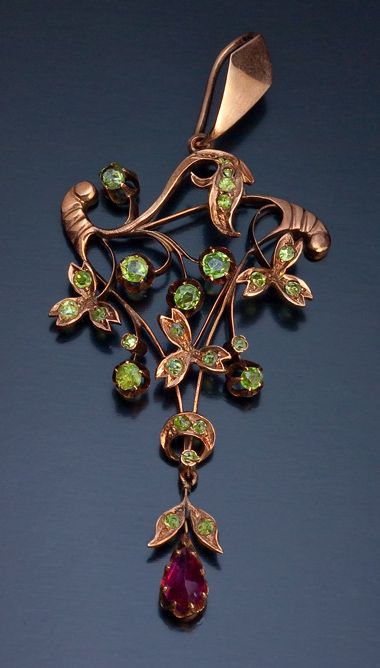 Antique Art Nouveau Russian Rose Gold And Demantoid Garnet Floral