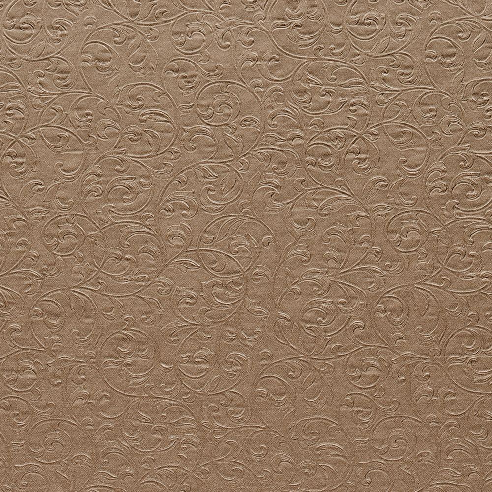 Carlotta Copper (Brown) Textured Scroll Wallpaper