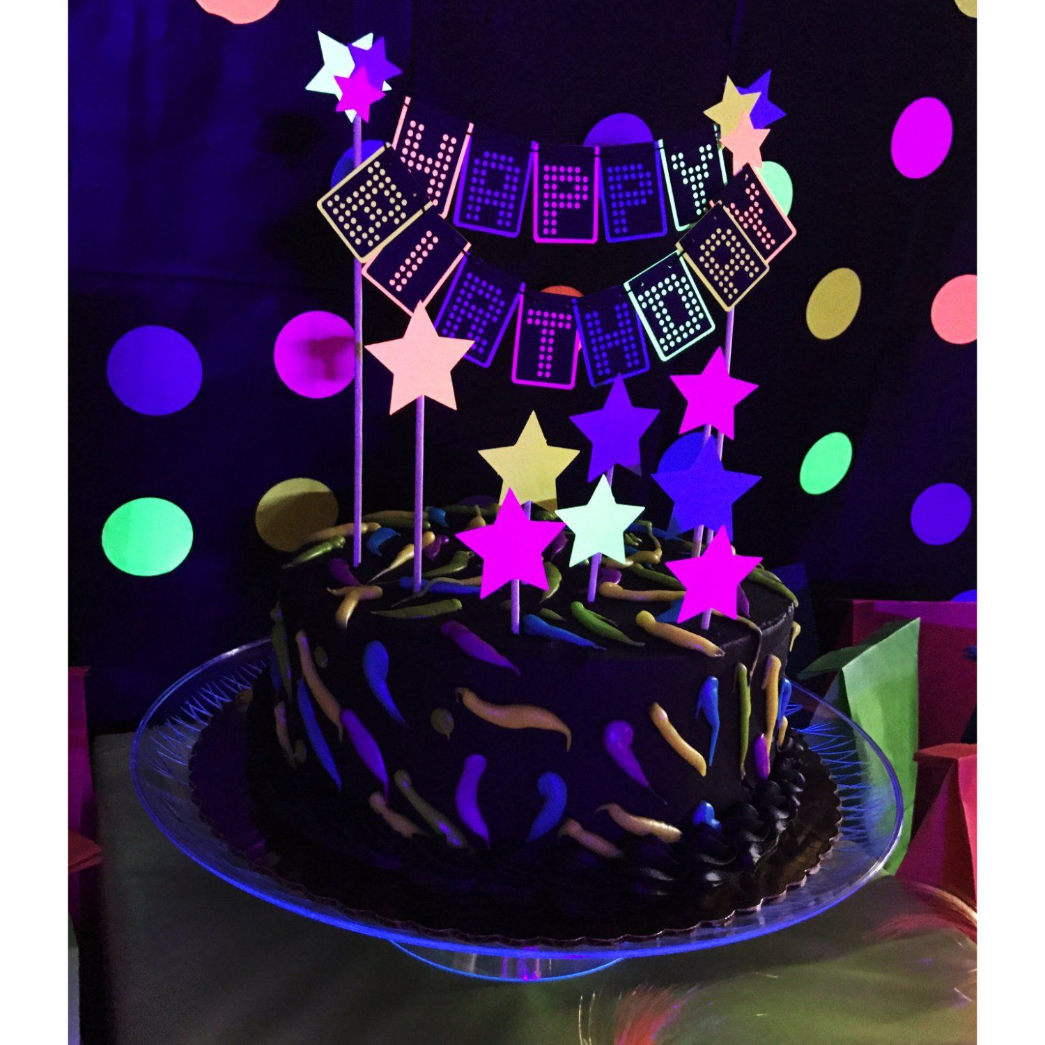 80s Cake Topper Neon Cake Topper Glow Cake Topper Neon Party
