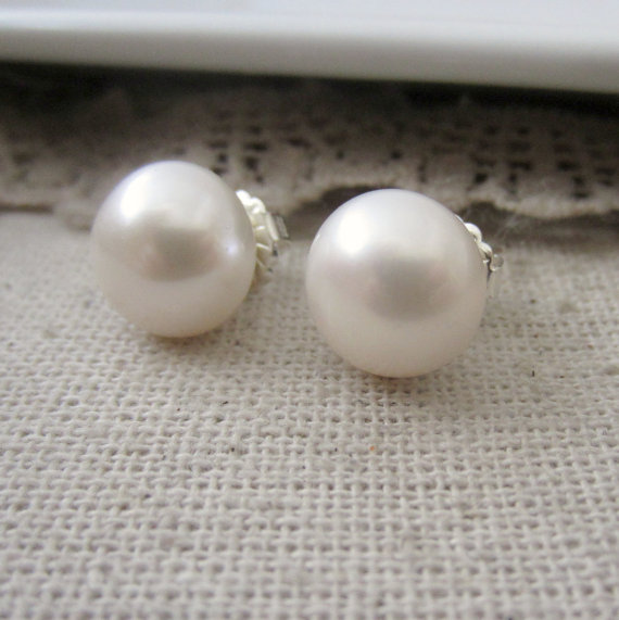 Extra Large Pearl Earrings White Studs Freshwater Pearls Real
