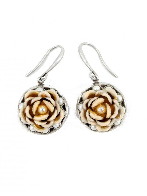 Peach Rose and Pearl Earrings by Ollipop - $28.00 : FashionCupcake, Designer Clothing, Accessories, and Gifts