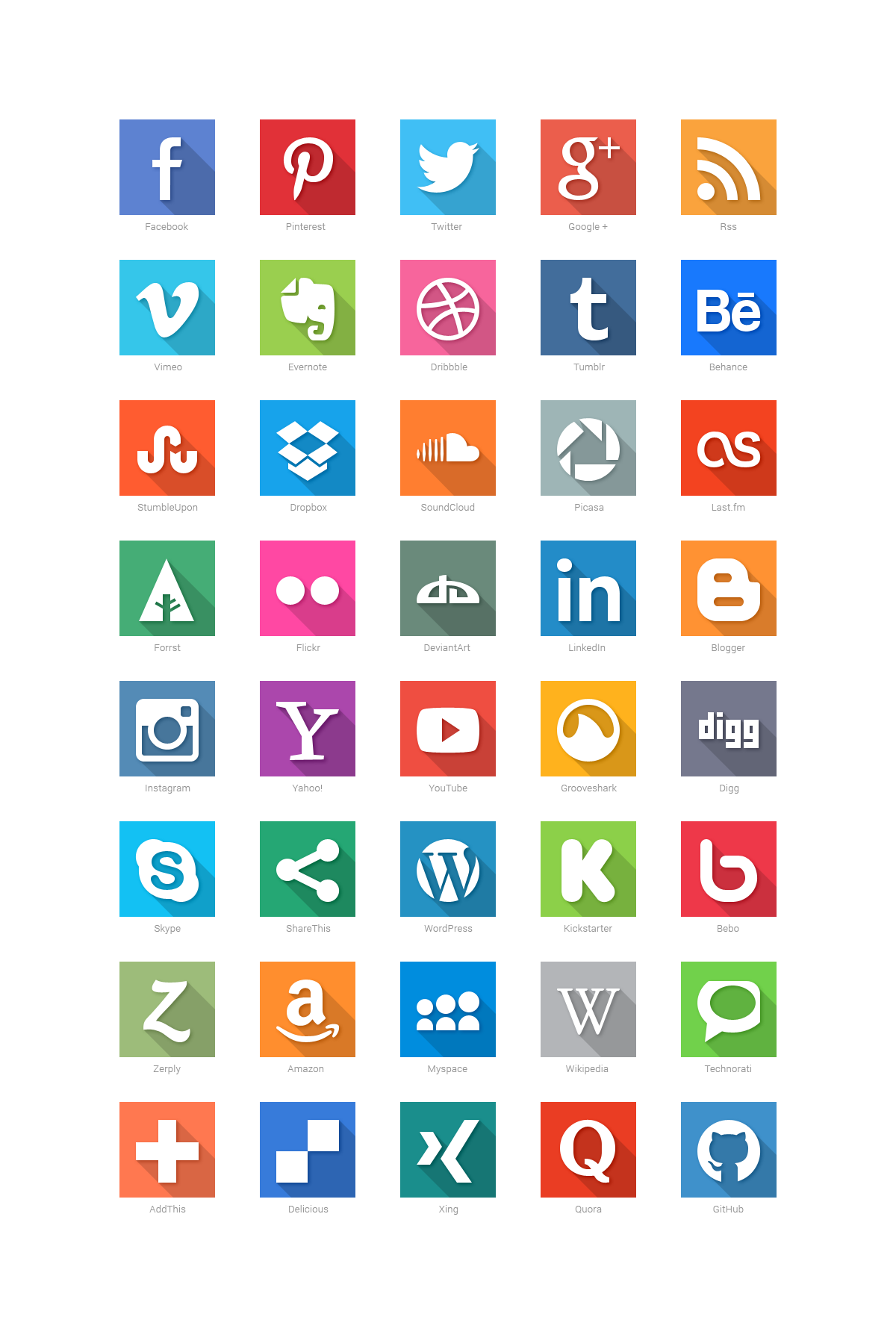 40 Social Media Flat Icons Behance Deviantart Dribbble Facebook Social Media Icons Free Social Media Icons Free Social Media