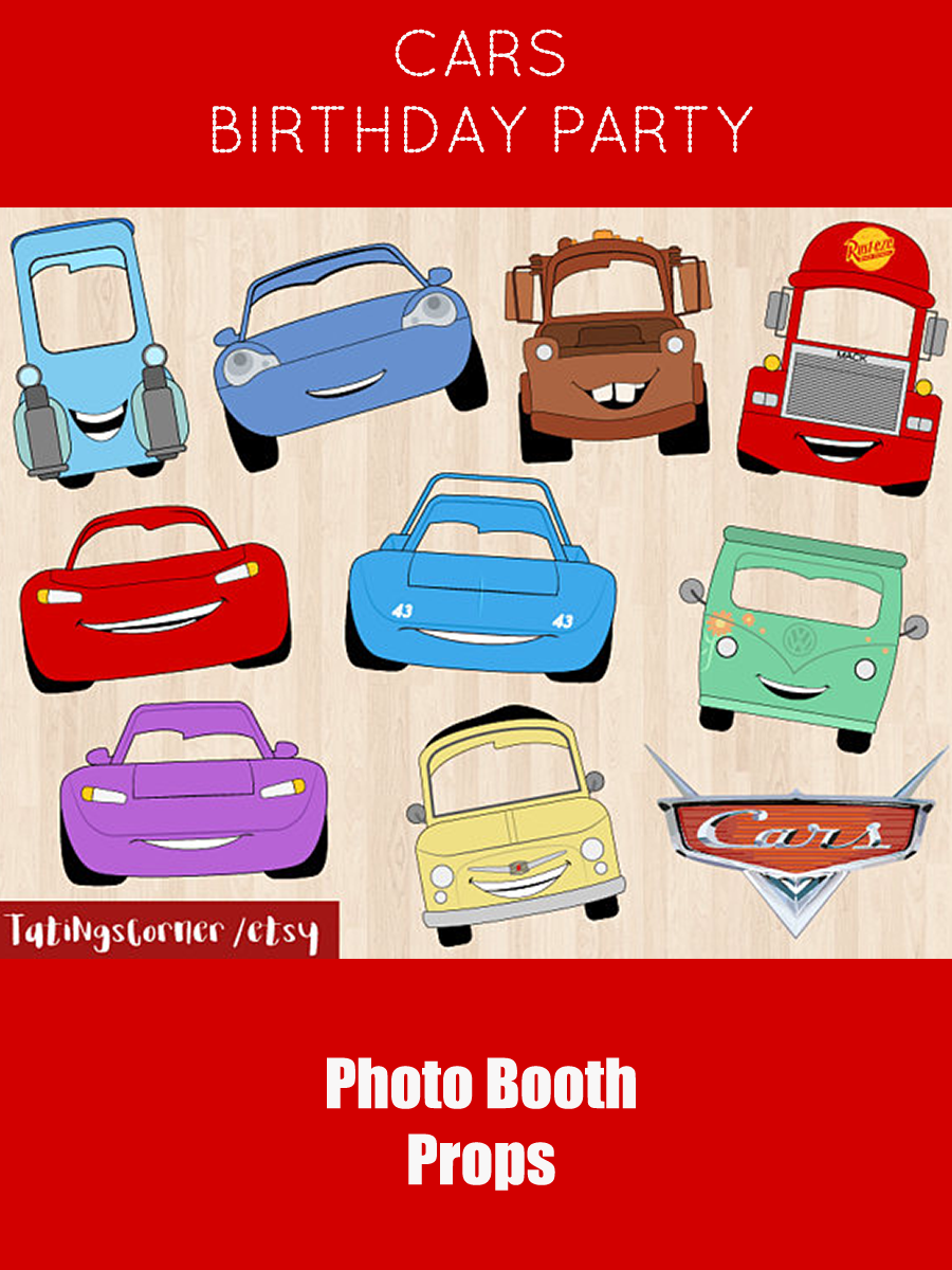 Cars Photo Booth Props Disney Cars Party Masks Cars Birthday Props