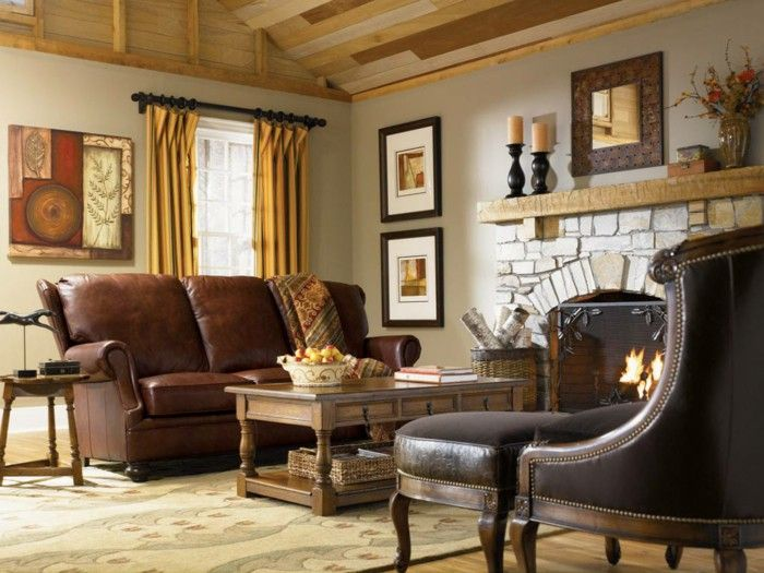 Country style furniture living room leather sofa fireplace g