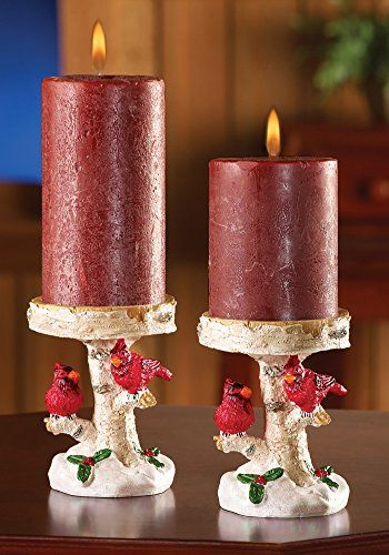 Set of 2 whimsical red cardinal birds pillar candle holder for Christmas pillar candle holders