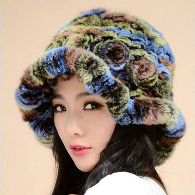 14 Color Women Hats Knitted New 2016 Winter Genuine Rex Rabbit Fur Hats For Female Thick Warm Fashion Natural Real Bucket Hats