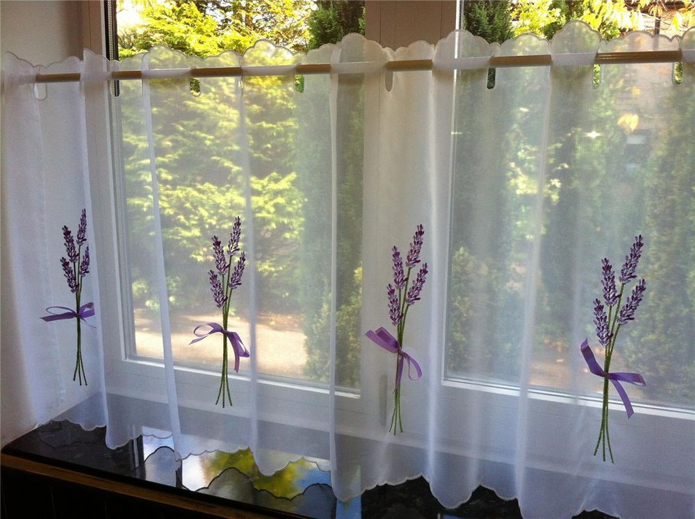 lavender white purple cafe net panel great for bathrooms or kitchens ribbon hand tied detail - Purple Cafe Ideas