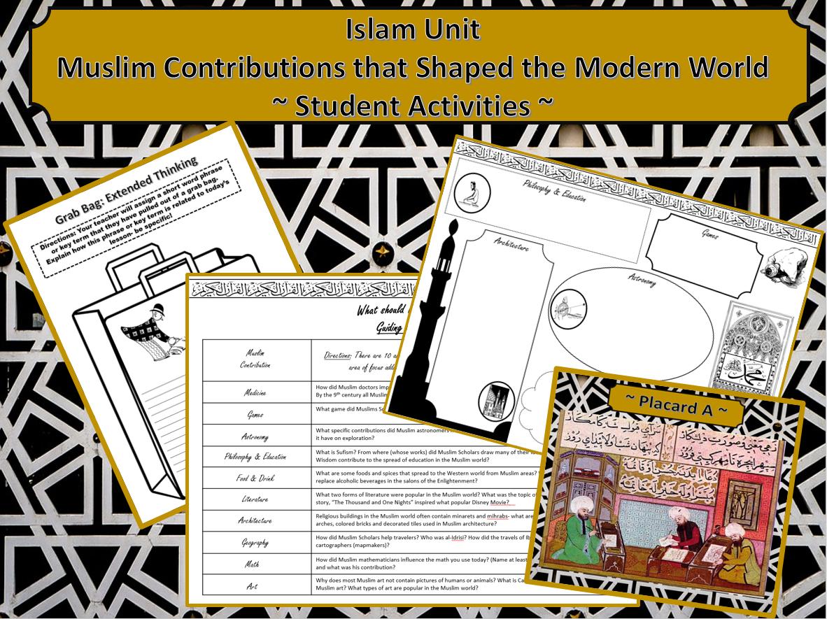 Islam Unit Muslim Contributions Student Activities