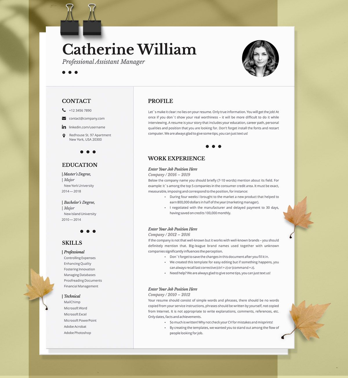 Professional Resume Template Instant Download 1 2 Pages Resume