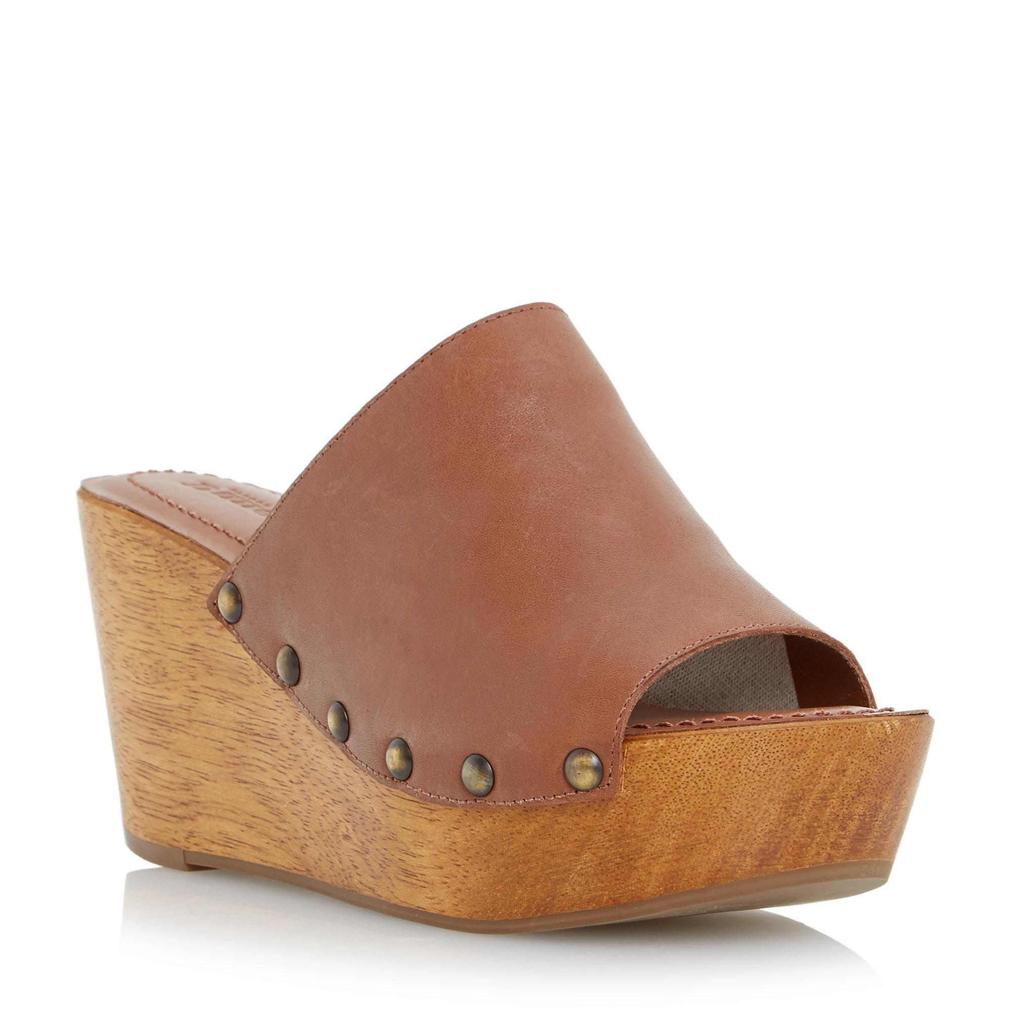 47ce865bd DUNE LADIES KEERA - Wooden Wedge Heel Mule Sandal - tan
