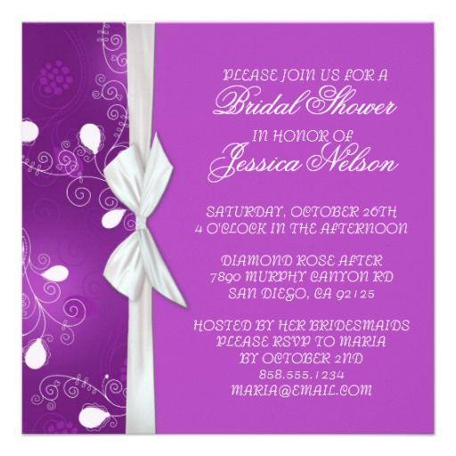 Luxury Ribbon Purple Floral Damask Shower Invite Personalized Invites