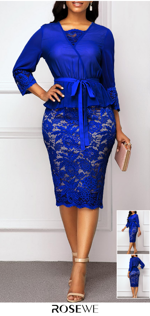 Hot Sale Belted Royal Blue Three Quarter Sleeve Lace Dress