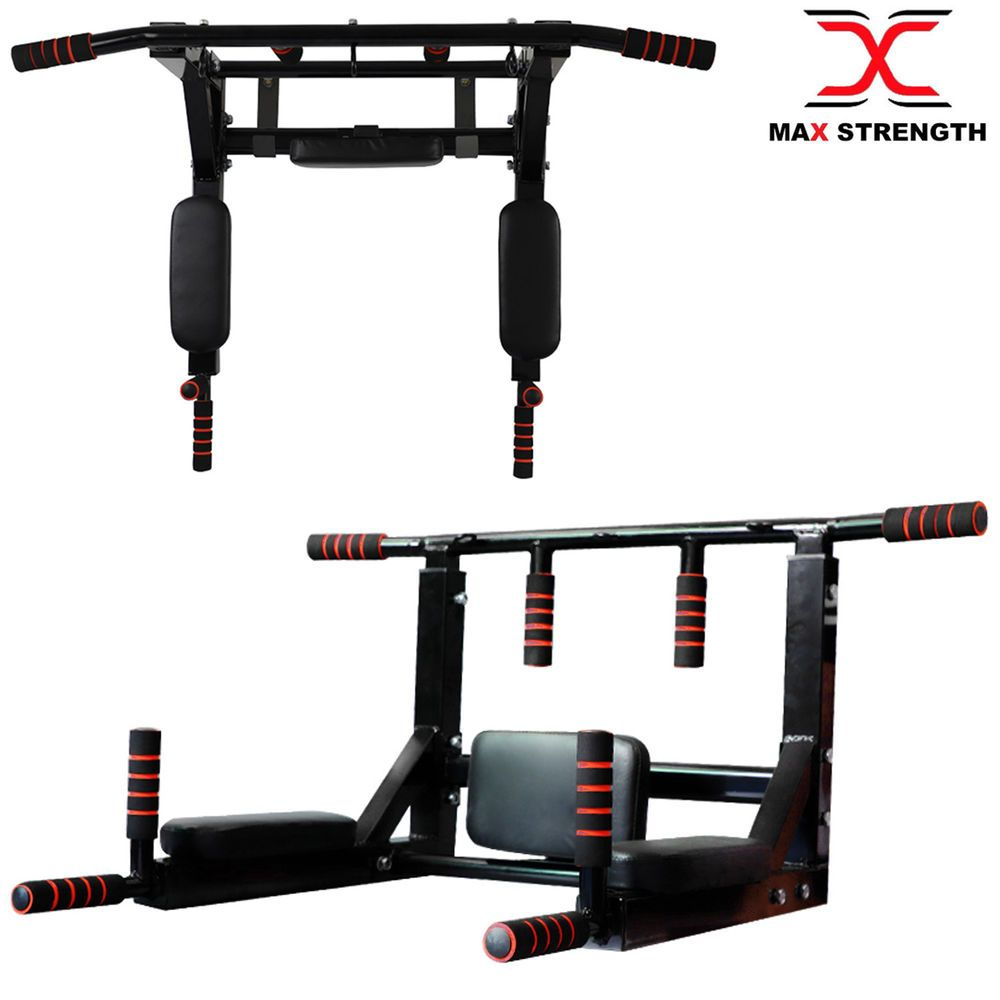 MAXSTRENGTH Chin Pull Up Bar with Punch Bag Hanging Wall Bracket Combo