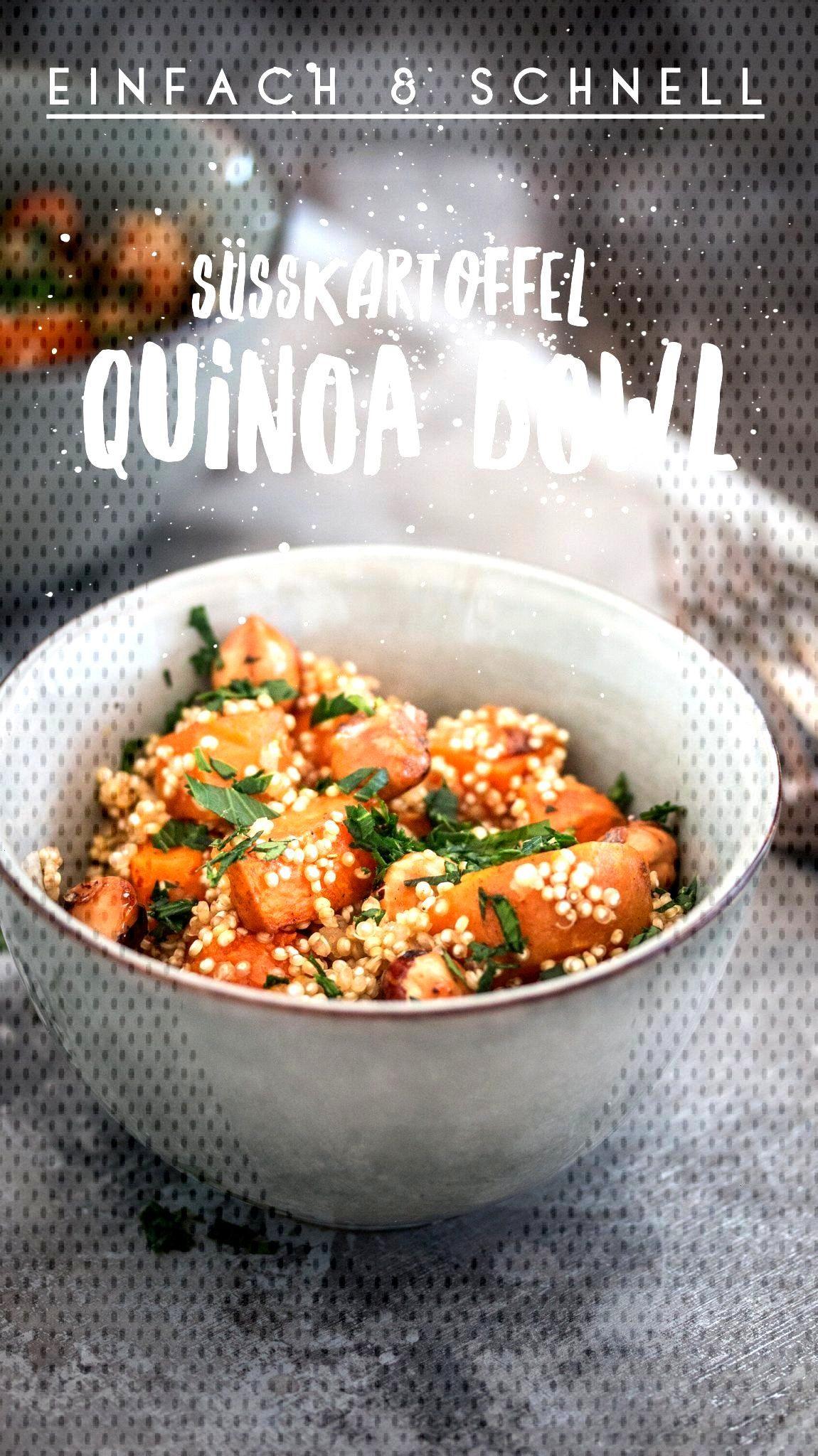 Süsskartoffel Quinoa Bowl. Gesund, schnell, einfach, vegetarisch und sogar vegan. Simples Rezept f
