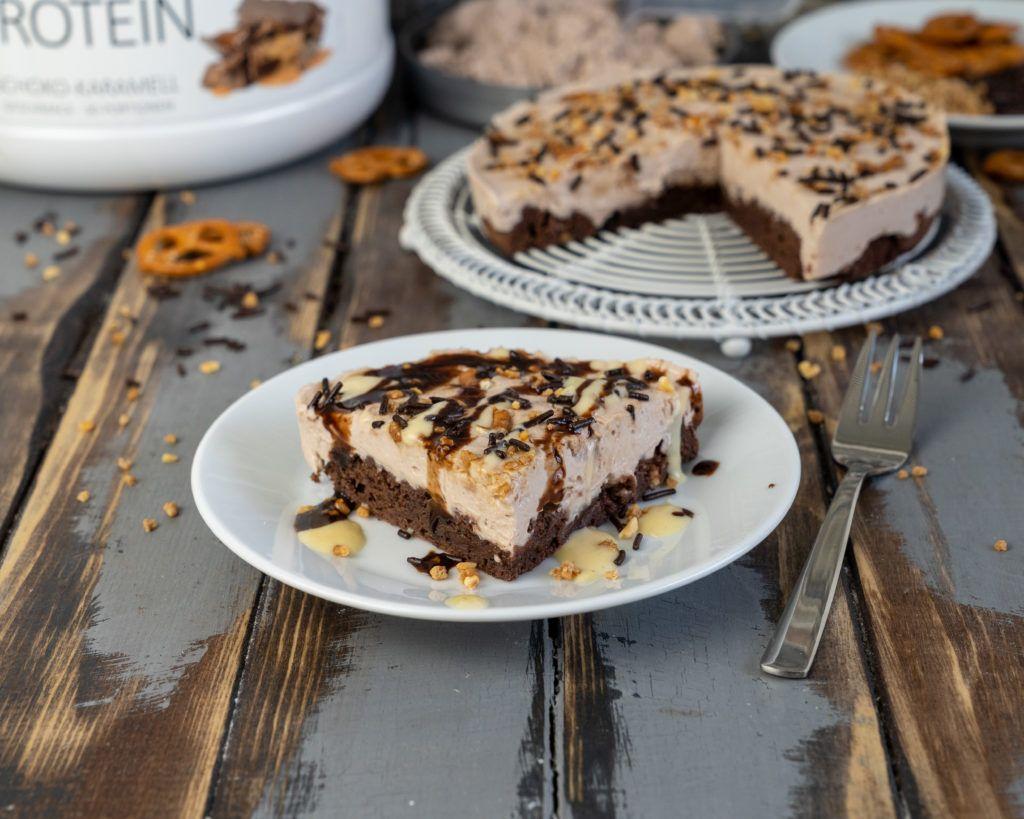 Schoko Karamell Protein Kuchen In 2020 Protein Kuchen Lebensmittel Essen