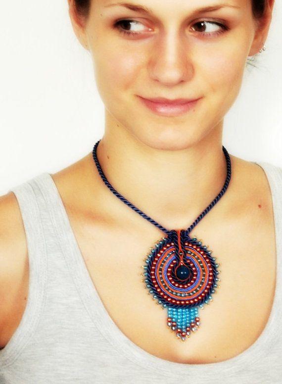 Blue Soutache Pendant, Ethnic Pendant, Folk Pendant, Blue Boho Pendant, Orange and Cobalt Soutache Pendant, Native American Inspired - OOAK on Etsy, $36.00