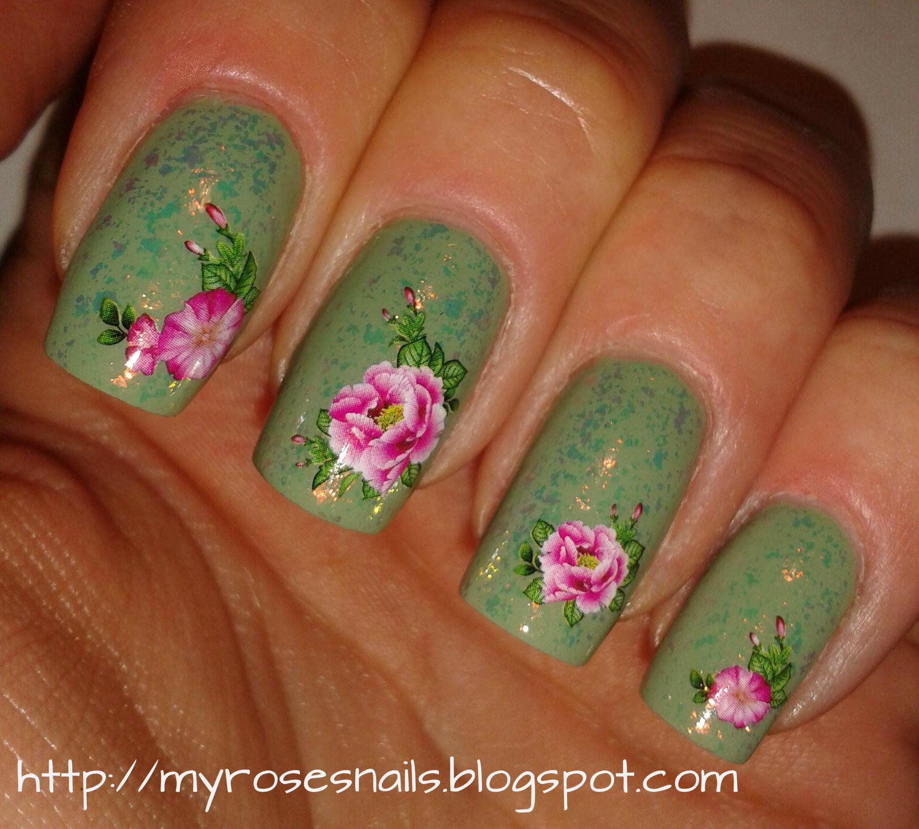 Wild, pink roses water decals on green with flakies