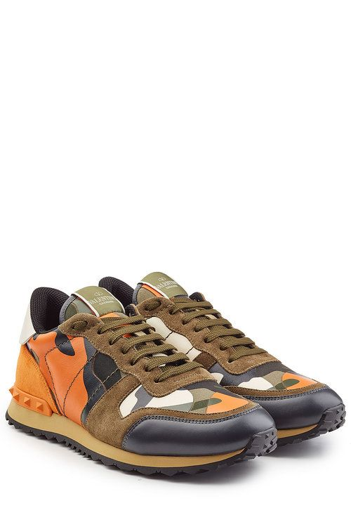 47ed0ef58740 VALENTINO Rockstud Suede And Leather Sneakers.  valentino  shoes    Valentino Sneakers Sale
