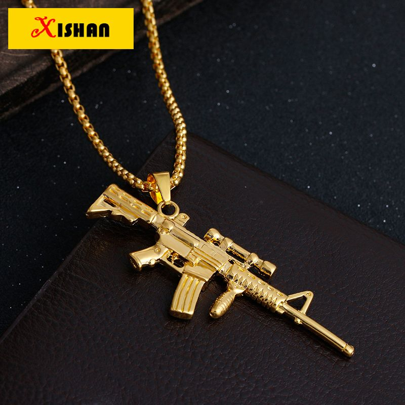 XS923 Sniper rifle NECKLACE Maxi Statement Necklaces Men Gold Twisted Chain  Gun Pendant HipHop Jewelry For fd5f2aceccd5