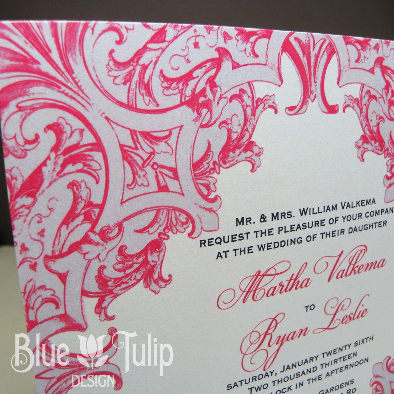 French Baroque Ornament Square Wedding Invitation 400