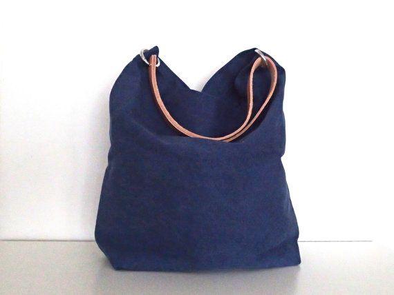 b64d892eafdc5 Canvas Tasche Tessa dunkelblau mit Leder von mnidesign auf Etsy ...